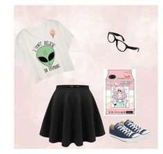 """""""Cotton candy and dreams"""" by fandondomfollower on Polyvore featuring Ray-Ban, Converse and Junk Food Clothing"""