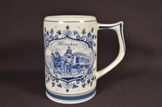 Heineken Delft Blue and White Ceramic Beer Mug, Holland
