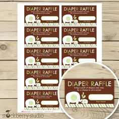 Green and Brown Elephant Baby Shower Diaper Raffle Tickets - Instant Download. $3.00, via Etsy.