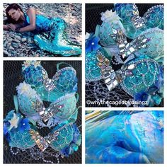 """""""ocean blue 🐚🐬💙 so many mermaids going out! I love the iridescence of these ones ✨ custom orders currently CLOSED until july (or until further notice) Mermaid Bra, Mermaid Outfit, Fall Halloween, Halloween Costumes, Decorated Bras, Estilo Dark, Silicone Mermaid Tails, Mermaid Parade, Fantasias Halloween"""
