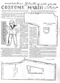 PAR AMOUR DES POUPEES :: 1925-11 Costume marin pour Bleuette