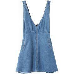 LUCLUC Blue V-Neck Denim Dress (130 RON) ❤ liked on Polyvore featuring dresses, vestidos, denim, lucluc, blue v neck dress, blue day dress, v neck dress, denim dress and v-neck dresses