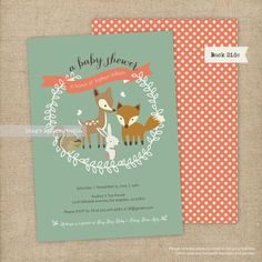 Woodland Invitation / Woodland Baby Shower Invitation Set - Printable or Printed Flat Cards on Etsy, $20.00 - love this!!