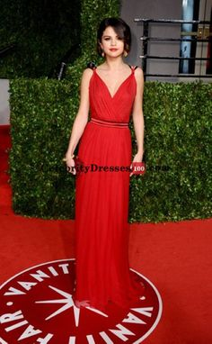 Justin Bieber and Selena Gomez Red Dress Replica For Sale Vanity Fair Oscars 2011 Celebrity Gowns evening Gowns Red v neck Prom Dress 2014