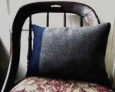SALE Recycled vintage army blanket lumbar pillow - eco vintage fabric - 16x12