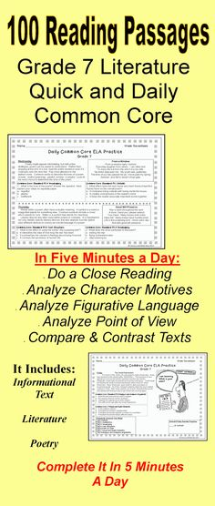 Grade 7 Daily Common Core Literature and Informational Text--Analyze characters, analyze figurative language, evaluate the plots of multiple texts, and more.