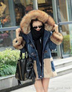 2015 New fur coat long section fur collar Cowboy cotton padded jacket coat fo women frozen coat winter coat padded jacket