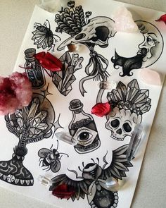 ♥ Witchy Things II Flash Sheet ♥Amazing colour and hand painted silver detail ♥ Digital print on rough paper ♥ sized - X Spooky Tattoos, Witchcraft Tattoos, Future Tattoos, Halloween Tattoos, Sleeve Tattoos, Tattoo Drawings, Wicca Tattoo, Tattoo Portfolio, Witch Tattoo