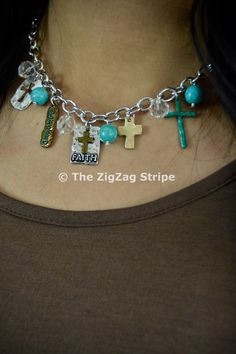 Faith Charmed Necklace – The ZigZag Stripe. Use coupon code ZZS72 to save 10% on every order, and shipping is free! zigzagstripe.com
