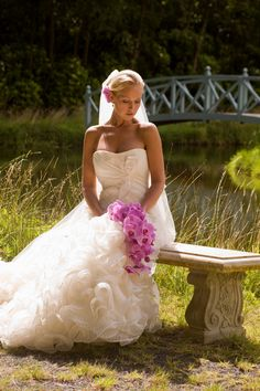 love this dress and the orchid bouquet