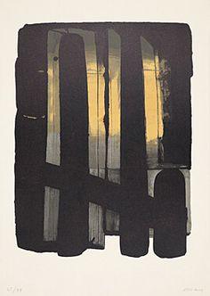 """. Pierre Soulages (Born 1919 Rodez) """"Lithography No. 38"""" Colour lithograph 1975 75.9 x 54.3 cm Fig. 60.5 x 46 cm"""