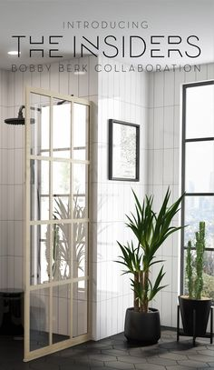 A Scandinavian inspired wood-grain metal finish now available on all Gridscape Full Divided Light Shower Doors, Shower Screen Panels, and Room Dividers