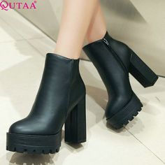 4ab26397b3b1d7 QUTAA 2017 European Style Sexy Round Toe Ankle Boots Comfortable Boots High  Heels Women Boots Size 34 39-in Ankle Boots from Shoes on Aliexpress.com ...
