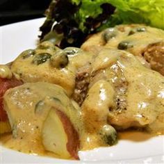Alfredo Medallions - Allrecipes.com  Pork tenderloin medallions with Alfredo sauce make an easy but tasty meal and it's ready in less than half an hour!  Serve over freshly boiled red potatoes for a delicious gluten-free meal.