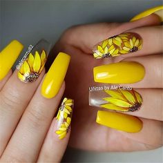 Trendy Yellow Nail Art Designs To Make You Stunning In Summer;Acrylic Or Gel Nails; French Or Coffin Nails; Matte Or Glitter Nails; Yellow Nails Design, Yellow Nail Art, Acrylic Nails Yellow, Bright Nail Art, Bright Colors, Spring Nail Art, Nail Designs Spring, Spring Design, Acrylic Nails For Spring