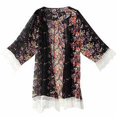 Lady Women Clothing Outfits New 2016 Retro Boho Floral Cardigan Hippie Cappa Shirts Loose Kimono Blouse Cape Top Beachwear Kimono Floral, Chiffon Floral, Sheer Chiffon, Print Chiffon, Floral Lace, Floral Sleeve, Chiffon Tops, Kimono Cardigan, Cardigan Chiffon