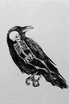 • death art Black and White creepy horror gore dark skull morbid skeleton Macabre crow fuckedwithoutyou •