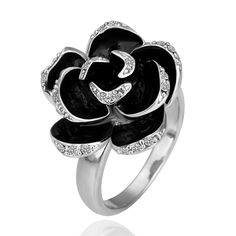 VALEN BELA rings for women fine jewelry flower enamel ring bague anillos mujer finger joias anel crystal Black Rose Flower, 3d Rose, Rose Gold, Jewelry Rings, Fine Jewelry, Jewelry Watches, Jewlery, Black Jewelry, Cheap Jewelry