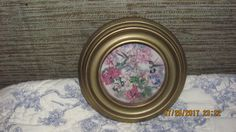 Antique Look Small Gold Framed Hummingbird Pink White Flowers Print Shabby Round Wood Picture Frame by treasuretrovemarket on Etsy