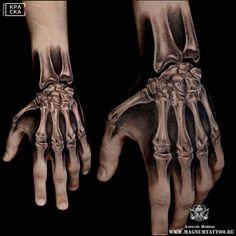 Photo tattoo Alexey Voinov - Different tattoos on a . Bone Hand Tattoo, Skeleton Hand Tattoo, Hand Tats, Bone Tattoos, Skull Tattoos, Forearm Tattoos, White Tattoos, Ankle Tattoos, Arrow Tattoos