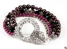 Jewelry Making Idea: Chocolate Raspberry Truffle Bracelet (eebeads.com)