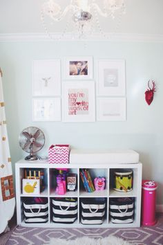ikea expedit toy storage in nursery, The Container Store Rugby Stripe Bins, gallery wall