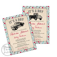 Cute Vintage Truck Baby Shower Invitation - Blue and Red  - Printable  No.921 on Etsy, $18.00