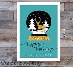 Custom Holiday Christmas Seasons Greetings Card 5x7 Snow Globe