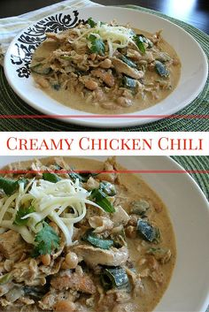 A comforting, creamy version of White Bean Chicken Chili. Creamy Chicken Chili with White Beans, Jalapenos, Poblanos, Cilantro, and Spices in a creamy, chili broth.  www.maryellenscookingcreations.com