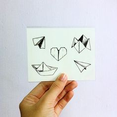Temporary Tattoos - Set of 5 designs - Paper boat, airplanes, heart and origami