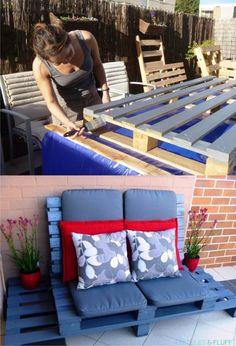 cute design for outdoor pallet DIY sofa