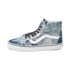 <p>Acid washed denim is back and better than ever with the Sk8 Hi Skate Shoe from Vans! The Sk8 Hi Skate Sneaker features a hi top design with an acid washed denim upper, classic side stripes, front lace closure for a secure fit, and padded collar for comfort and support.</p> <p><u>Features include</u>:</p> <ul> <li> Acid washed denim upper</li> <li> Ribbed collar with padding for ankle support and cushion<&#x...