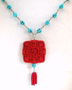 Handmade Turquoise Blue and Poppy Red Wire-Wrapped Beaded Statement Necklace - One of a Kind