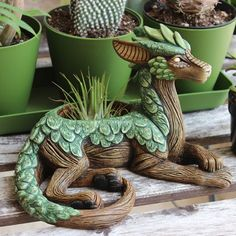 "Clever little dragon planter with juicy scales! ""Planters are in the shop! - Clever little dragon planter with juicy scales! ""Planters are in the shop! Clay Projects, Clay Crafts, Diy Clay, Dream Garden, Garden Art, Garden Design, Moon Garden, Garden Crafts, Herb Garden"