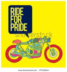 vector motorbike illustration ride for pride  colorful poster - stock vector