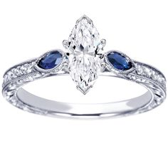 Marquise Diamond Engagement Ring Blue Sapphire Marquise shape side stones Hand engraved - ES1182MQ