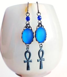 Blue Glass Ankh Earrings Vintage Frosted Glass Ancient Egypt Egyptian Jewelry Iridescent Blue Violet. $23.00, via Etsy.