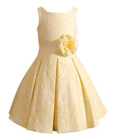 I would have all the bridesmaids wearing this dress without the flower and the flower girl wearing this!!! Loving this Yellow Jocelyn Dress - Girls on #zulily! #zulilyfinds