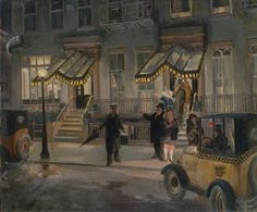 John Sloan (American, 1871–1951). The Lafayette, 1927. The Metropolitan Museum of Art, New York. Gift of The Friends of John Sloan, 1928 (28.18) | This canvas portrays the entrance to the Hotel Lafayette, located at 9th Street and University Place in Greenwich Village, which was a popular haunt for the neighborhood's writers and artists, including Sloan. #newyork #nyc