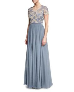 B3WZX Jenny Packham Crystal-Beaded & Lace Short-Sleeve Gown