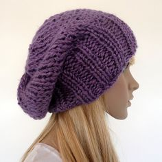 Slouch Beanie Hand Knitted Hat Purple Multicolor Flecks Slouchy Hat Unisex Slouch- I want a slouchy hat like this for fall/winter.