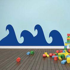 Kids' room.  Cute Waves Wall Decal, Ocean Wave Decals, Waves Wall Stickers, Removable Waves Wall Decal Stickers for Kids Bedrooms, Ocean Wall Decals