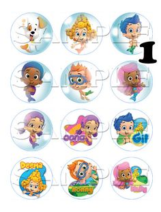5 Bubble Guppies Edible Cupcake Toppers by ItsEdible on Etsy, $6.00