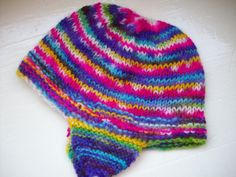 Warm wool child's hat hand dyed knit fun bright by SpinningStreak, $22.00