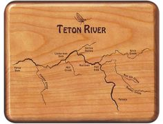 Teton River Map Fly Box - Idaho - Cherry Wood