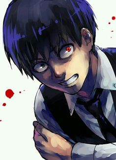 Kaneki Ken | Black hair | Anime | Boy | Tokyo Ghoul | Blood | Cute | Dark