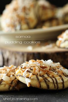 Samoa Pudding Cookies! COOKIE . 3/4 cup butter softened 1/4 cup sugar 3/4 cup brown sugar 1 (3.4 oz) package Vanilla Instant Pudding mix dry 2 eggs 1 tsp. vanilla 1 tsp. baking soda 1/2 tsp. salt 2 1/4 cup flour . . CARAMEL BUTTERCREAM 1/2 cup butter softened 3 cups powdered sugar 1/2 tsp. salt 1 tsp. vanilla 1/4 cup caramel topping 2-3 Tbsp. milk 4 oz. chocolate candy coating I use Candiquick 1/2 cup Kraft Caramel Bits 1 Tbsp. water 1 cup toasted coconut