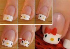 ❀ Ongles hello kitty ❀ Plus Nails For Kids, Girls Nails, Ongles Hello Kitty, Love Nails, Pretty Nails, Nail Diamond, Cat Nails, Cute Nail Designs, Nail Art Diy