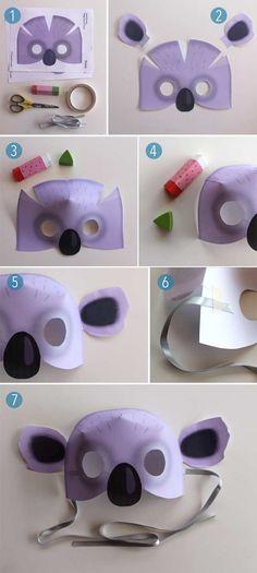 Koala mask instructions + koala mask costume templates! #koala #mask https://happythought.co.uk/3d-mask-templates/printable-koala-mask