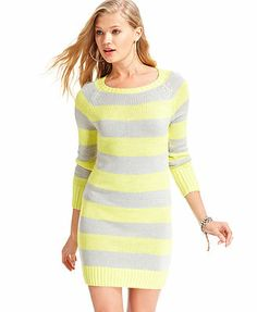 Tommy Girl Juniors Dress, Long Sleeve Striped Sweater Dress
